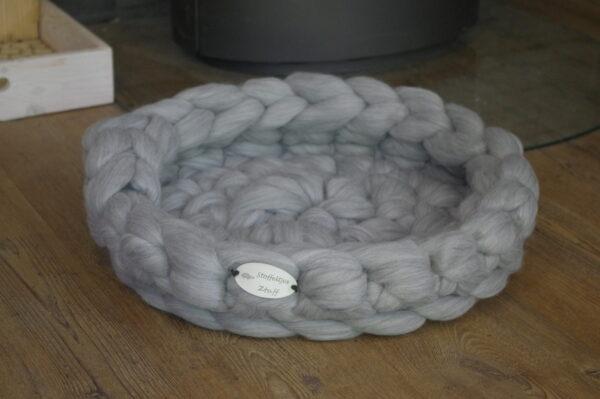 zilver grijs merino wollen kattenmand